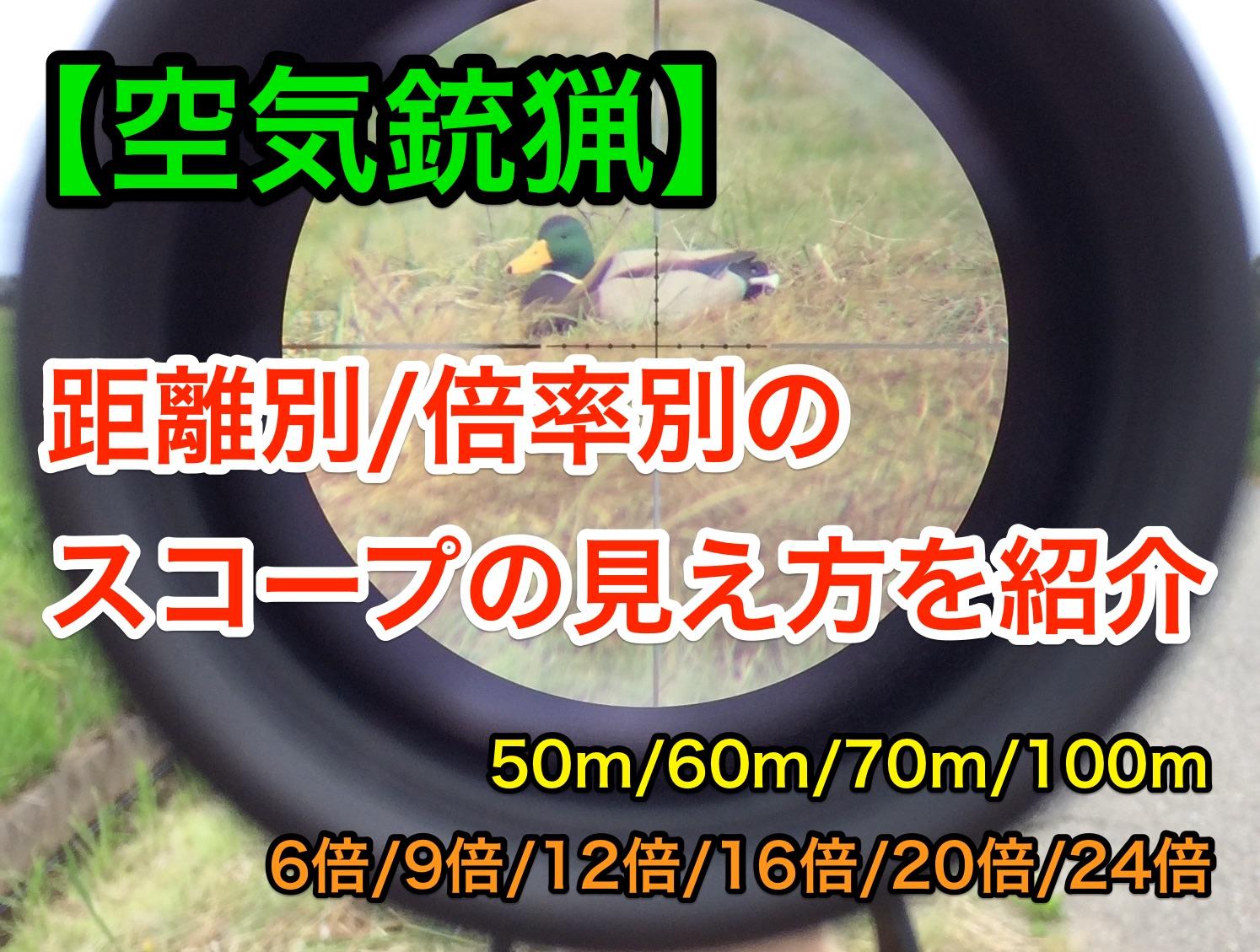【空気銃】狩猟用スコープ6,9,12,16,20,24倍における獲物の見え方を紹介する