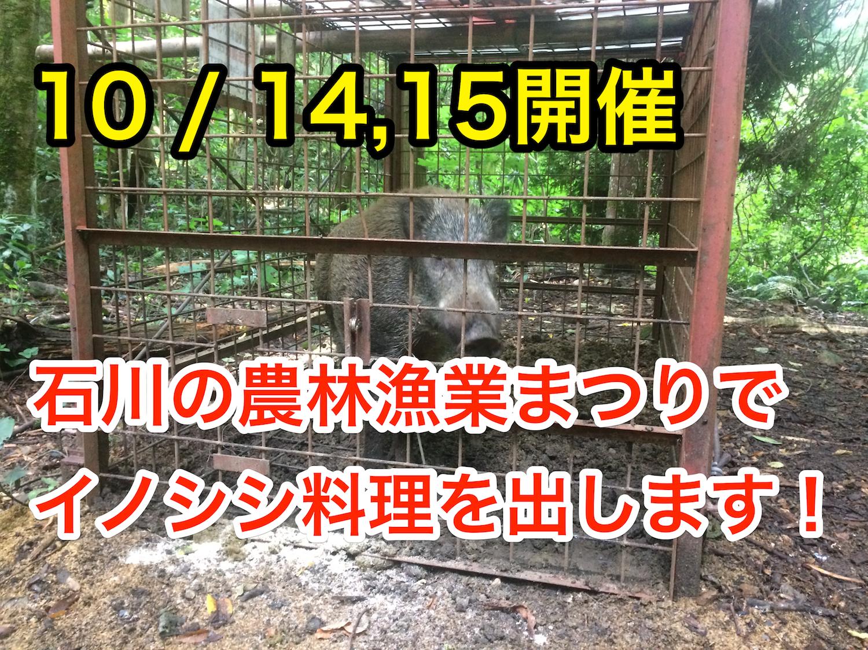10/14,15に開催!石川県の「農林漁業まつり」にジビエ部門で出店します